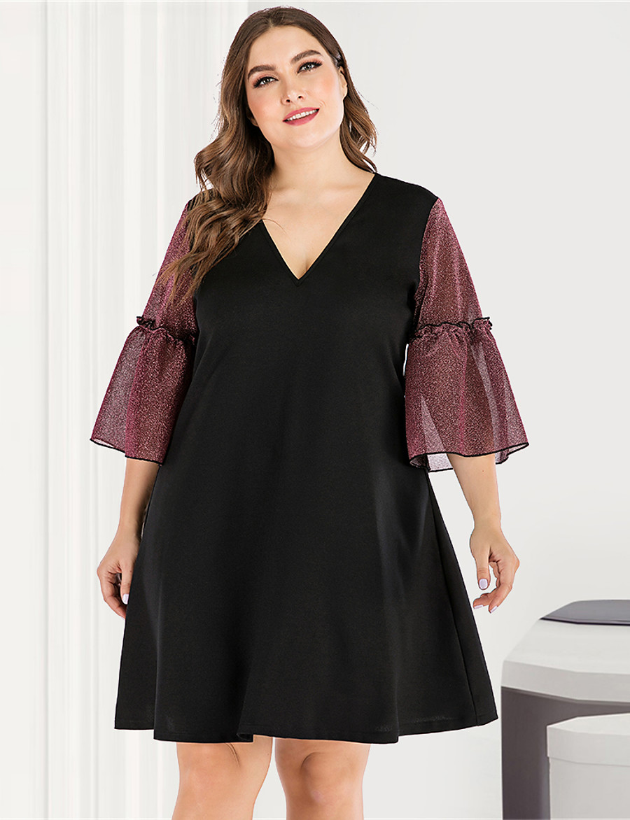 Women's A-Line Dress Maxi long Dress - Long Sleeve Blue & White Black & Red Solid Color Color Block Criss Cross Patchwork Basic V Neck Plus Size Streetwear Cute Going out Flare Cuff Sleeve Red XL XXL