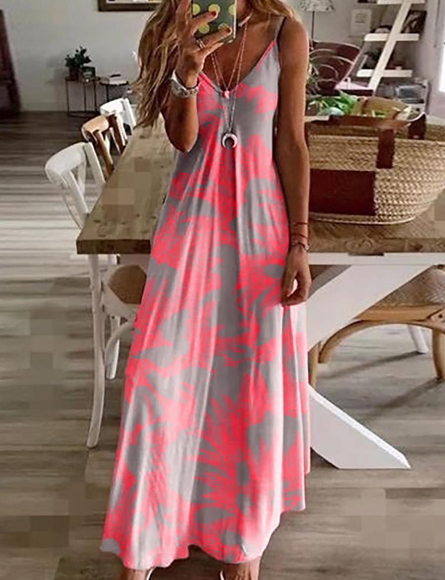 Women's Sundress Maxi long Dress - Sleeveless Floral Print Summer V Neck Casual Hot Holiday Beach 2020 Fuchsia M L XL XXL 3XL 4XL 5XL