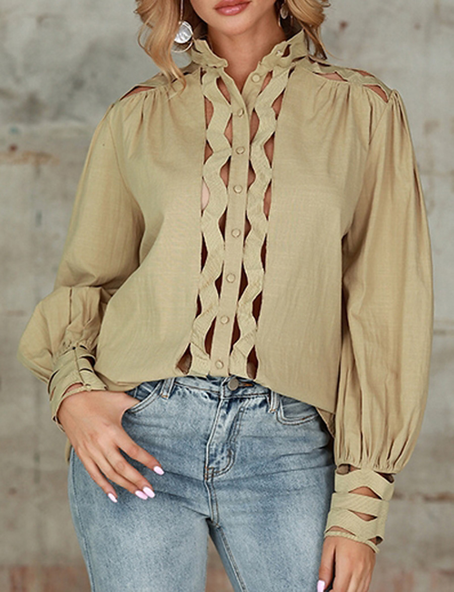 Women's Blouse Shirt Solid Colored Long Sleeve Cut Out Criss Cross V Neck Tops Basic Top Khaki