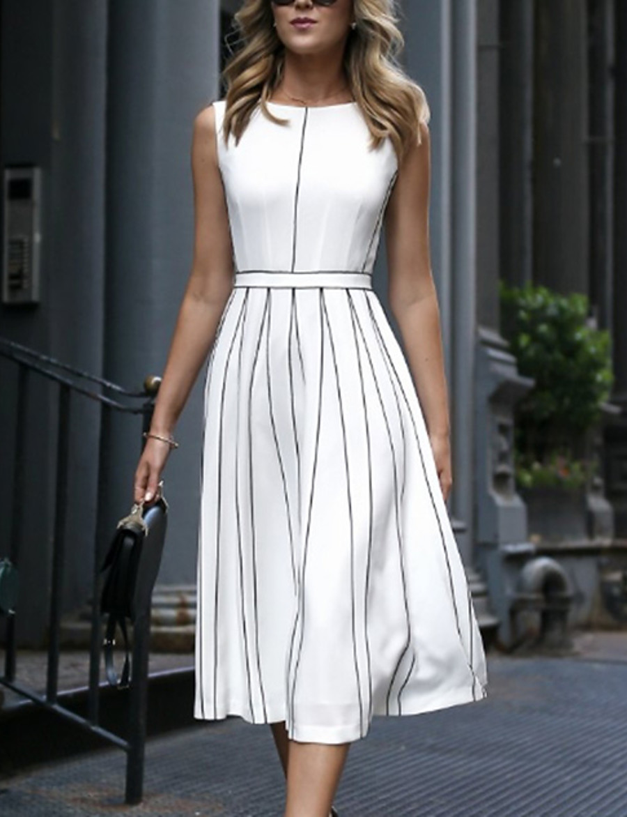 Women's A Line Dress - Sleeveless Striped Spring & Summer Elegant 2020 White M L XL XXL XXXL