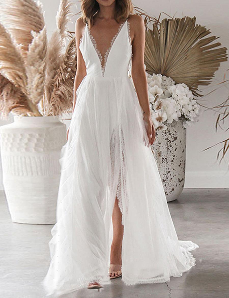 Women's Maxi White Dress Sheath Solid Colored Strap Lace Split Patchwork S M Slim