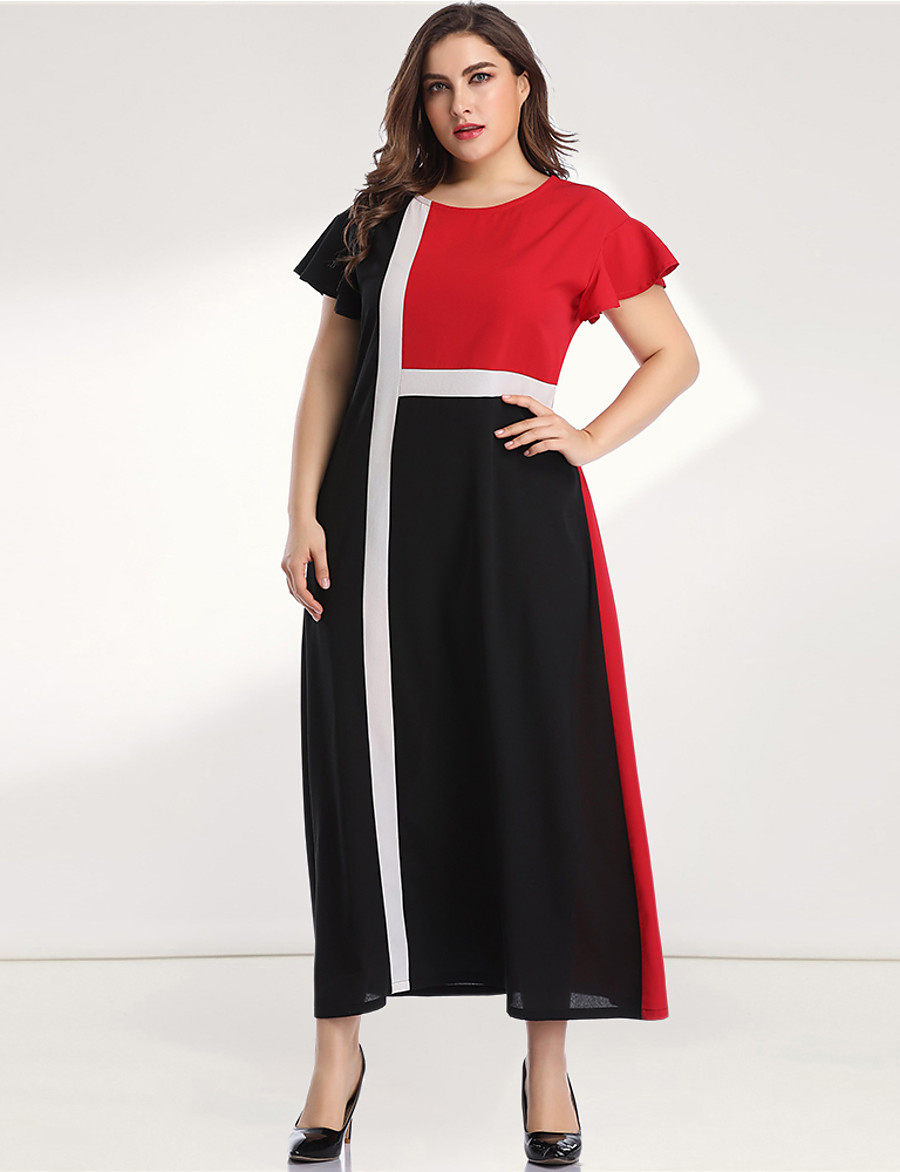 Women's A-Line Dress Maxi long Dress - Long Sleeve Black & Red Color Block Solid Color Patchwork Plus Size Casual Elegant Going out Flare Cuff Sleeve Loose Red L XL XXL 3XL 4XL