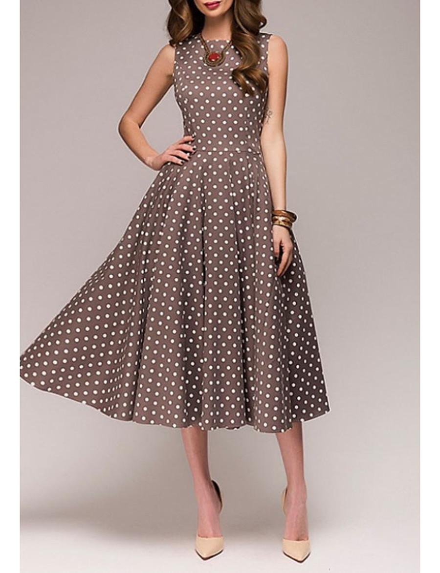 Women's Plus Size A Line Dress - Sleeveless Polka Dot Summer 1950s Elegant Party / Cocktail 2020 Red Green Brown S M L XL XXL XXXL XXXXL