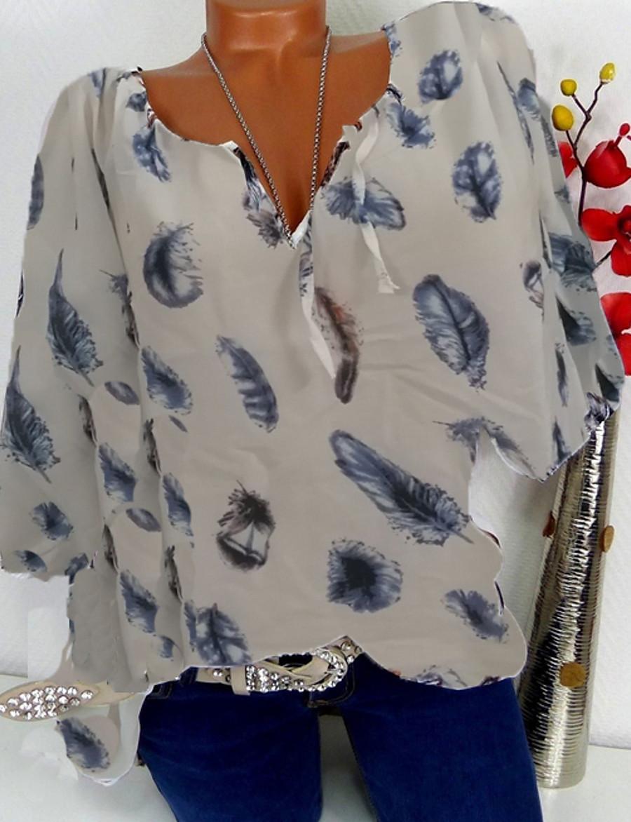 2020 Hot Sale Shirts Women's Plus Size Shirt - Geometric Print V Neck White XXXL Camisas Mujer Chemise Femme