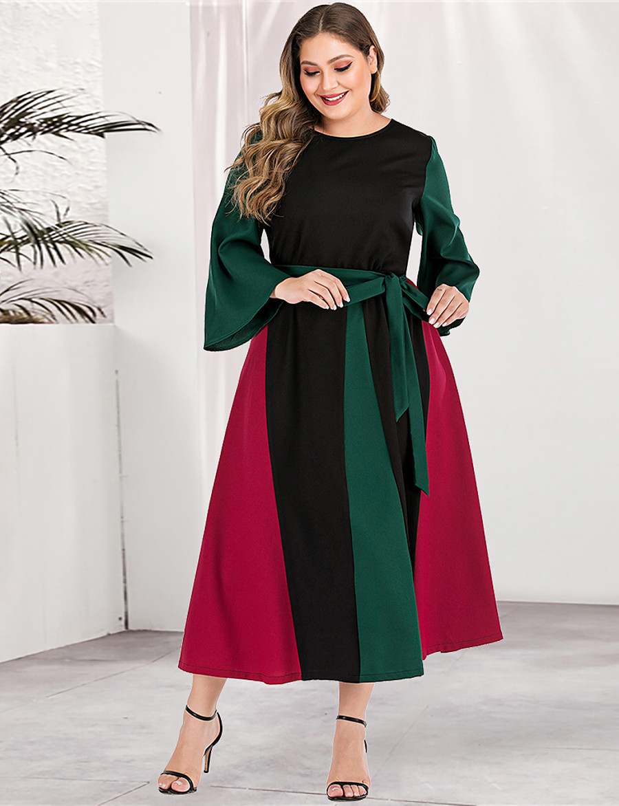 Women's Sheath Dress Maxi long Dress - Long Sleeve Color Block Solid Color Patchwork Basic Plus Size Casual Streetwear Going out Flare Cuff Sleeve Red L XL XXL 3XL 4XL