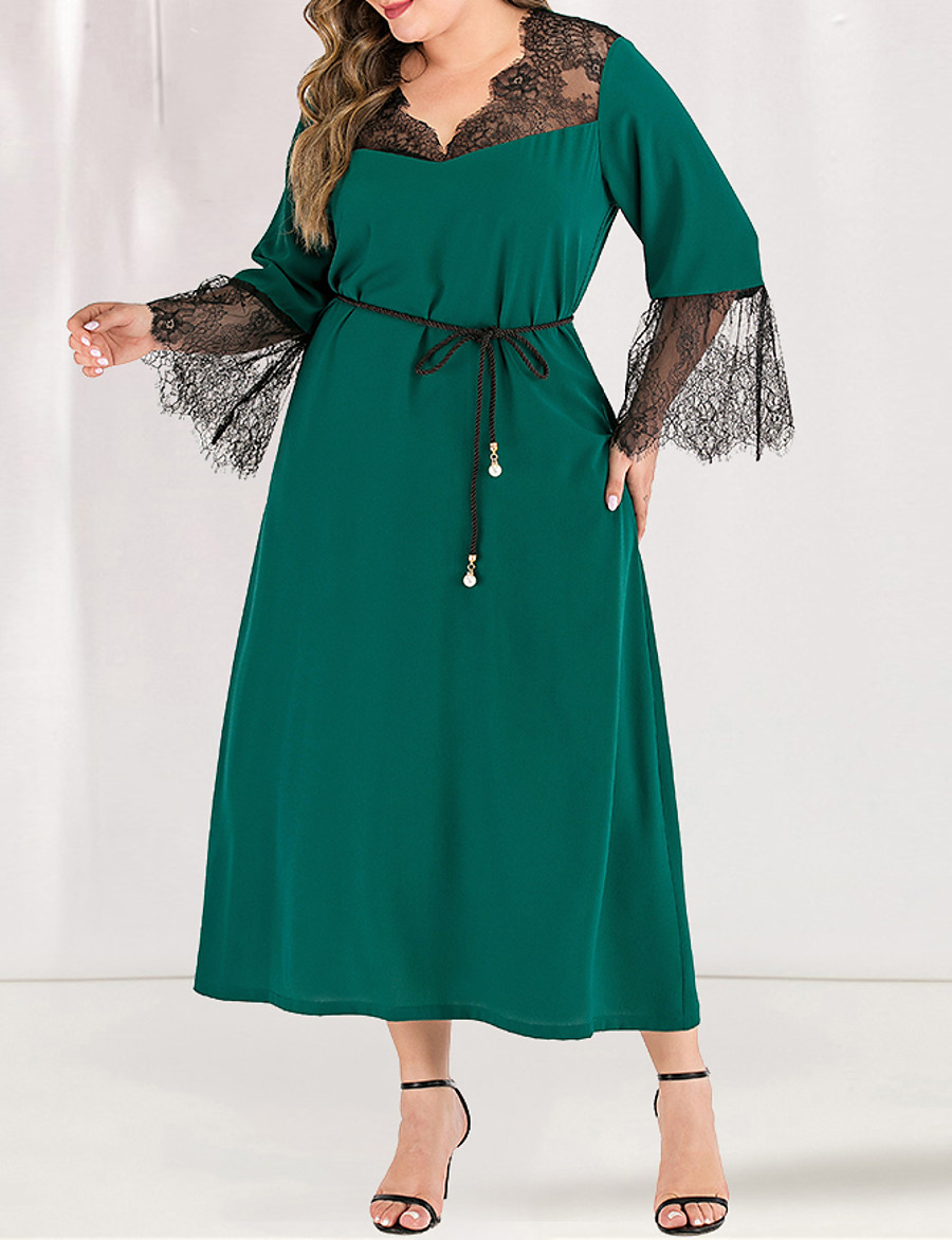 Women's A-Line Dress Maxi long Dress - Long Sleeve Solid Color Lace Spring & Summer Fall & Winter Square Neck Plus Size Casual Elegant Flare Cuff Sleeve Green L XL XXL 3XL 4XL