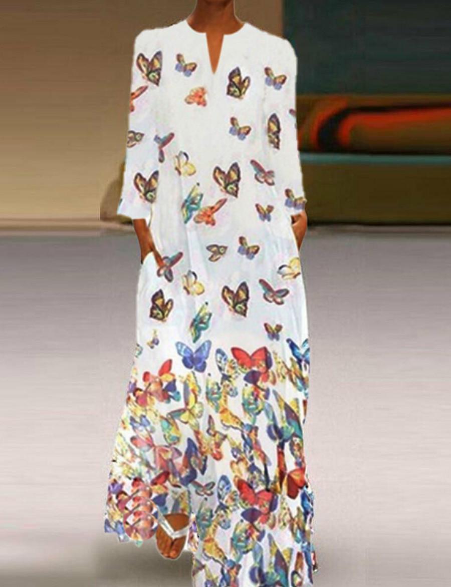 Women's Maxi Shift Dress - Long Sleeve Geometric Elegant Slim White Yellow Blushing Pink Light Blue S M L XL XXL XXXL XXXXL XXXXXL