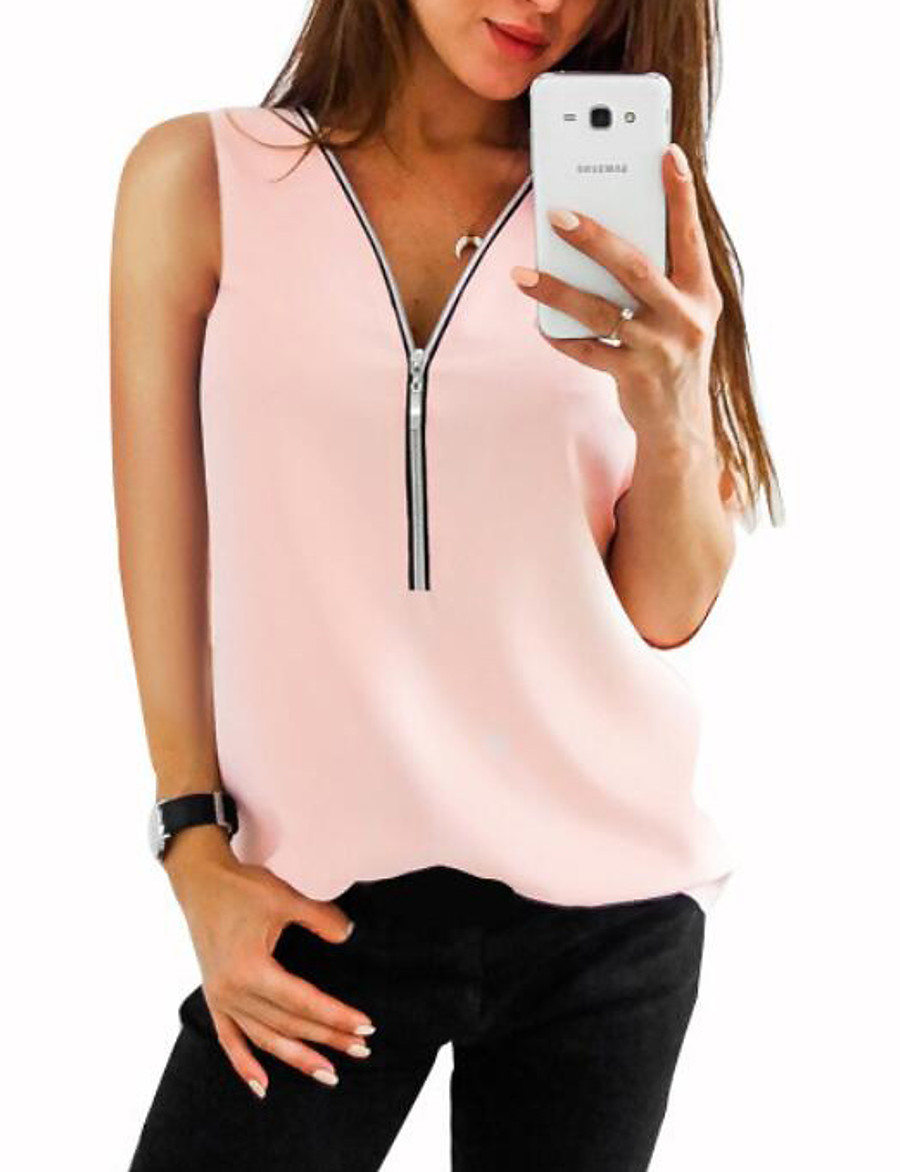 Women's Solid Colored Chiffon Zipper Fashion Slim Tank Top Daily V Neck Wine / White / Blue / Red / Blushing Pink / Green
