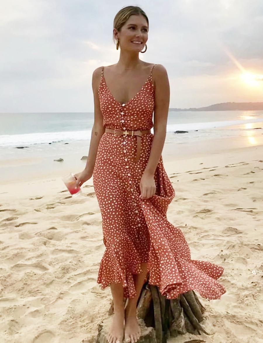 Women's Maxi A Line Dress - Sleeveless Polka Dot Ruffle Summer Strap Boho Bohemian Tea Party Beach 2020 Red S M L XL