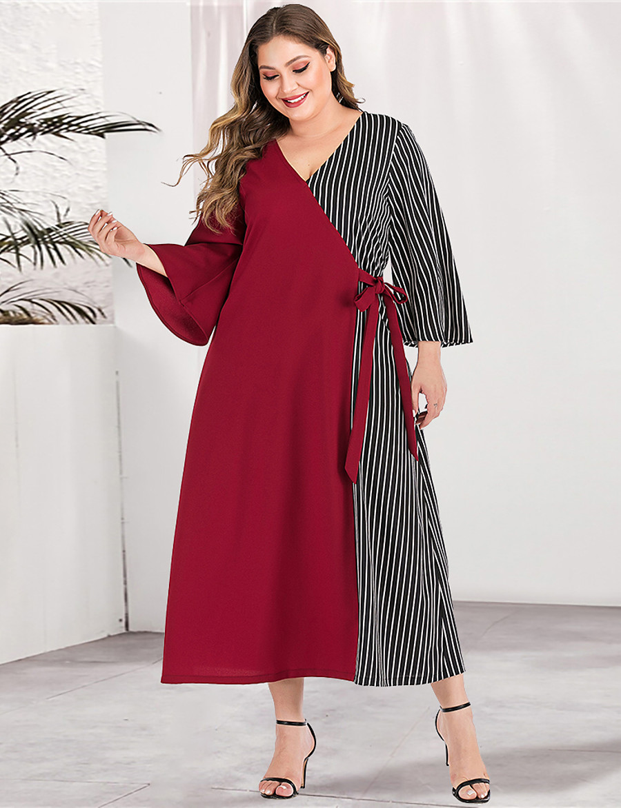 Women's A-Line Dress Maxi long Dress - Long Sleeve Striped Color Block Solid Color Patchwork Spring & Summer V Neck Plus Size Casual Elegant Going out Flare Cuff Sleeve Red Green L XL XXL 3XL 4XL