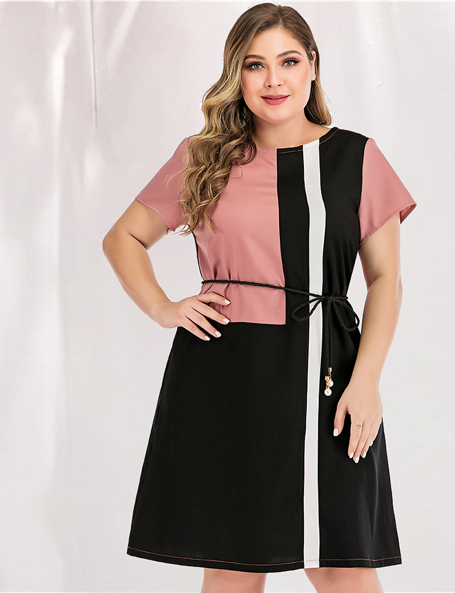Women's A-Line Dress Short Mini Dress - Long Sleeve Blue & White Black & Red Color Block Solid Color Patchwork Spring & Summer V Neck Casual Basic Work Loose Blushing Pink L XL XXL 3XL