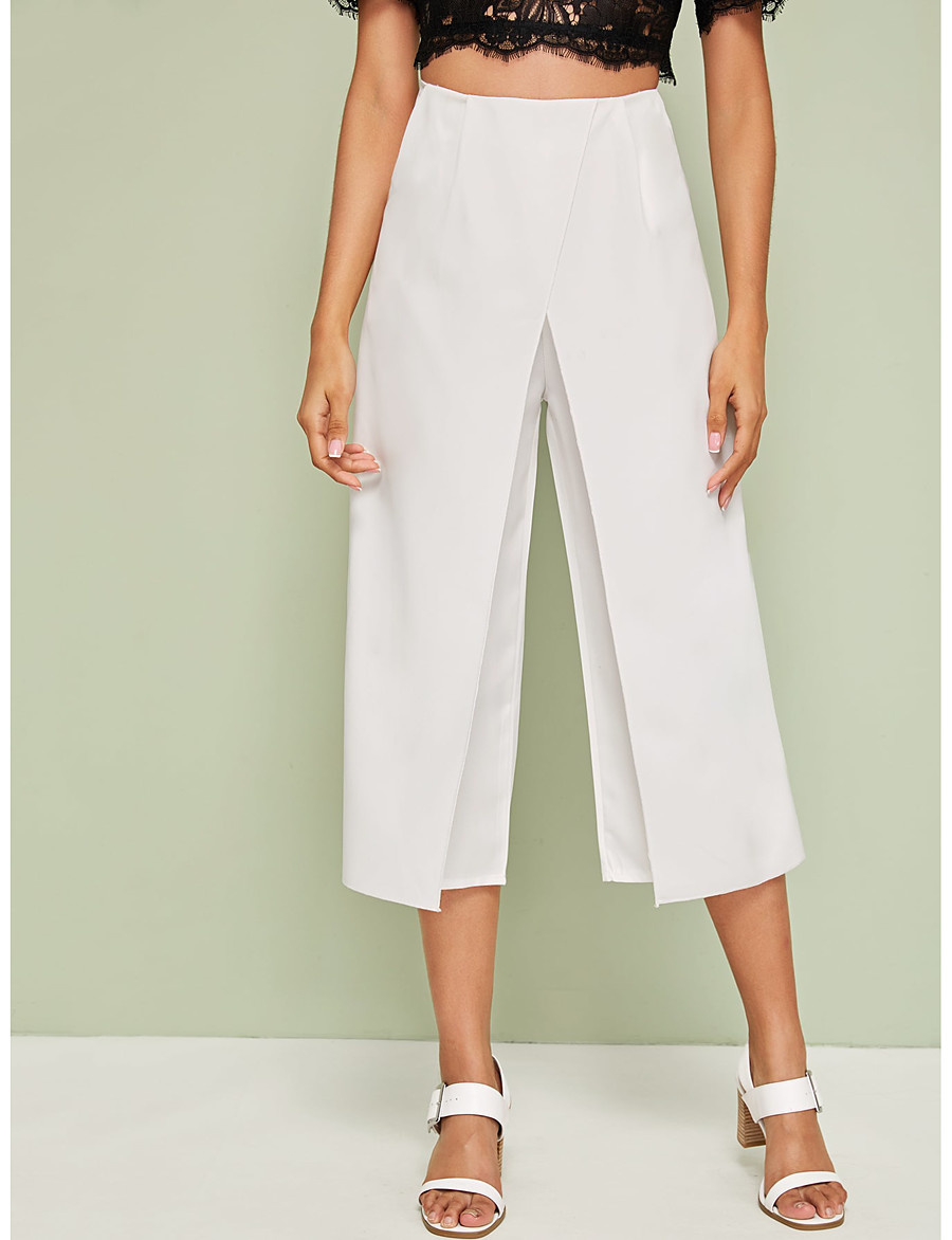 Women's Wide Leg Pants Loose High Waist Solid Pants Casual Vertical Soft Pleated Pant Trousers Femme