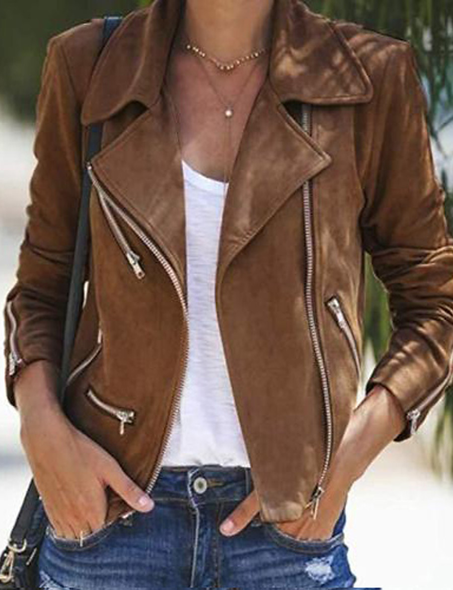 Women's Jacket Regular Solid Colored Daily Black Khaki Gray S M L