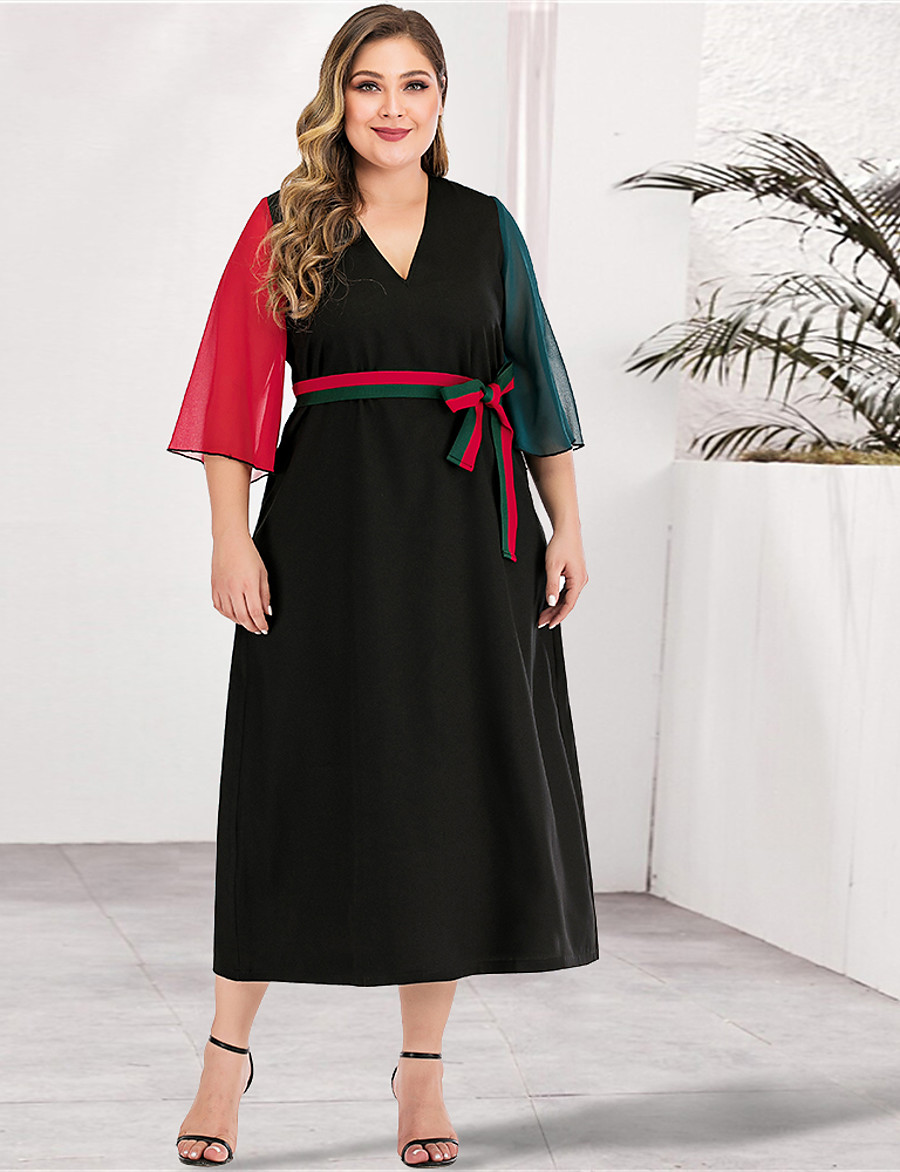 Women's A-Line Dress Maxi long Dress - Long Sleeve Color Block Solid Color Patchwork Spring & Summer V Neck Plus Size Casual Elegant Going out Loose Red L XL XXL 3XL 4XL