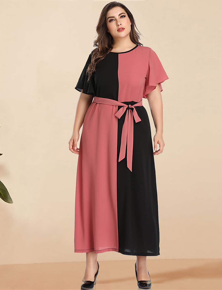 Women's A-Line Dress Maxi long Dress - Long Sleeve Black & Red Color Block Solid Color Patchwork Spring & Summer Plus Size Casual Elegant Going out Flare Cuff Sleeve Blushing Pink L XL XXL 3XL 4XL