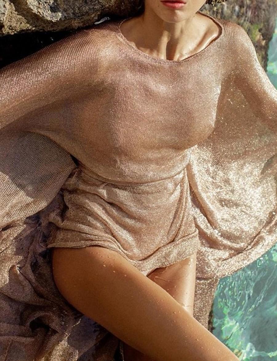 Women's Glossy knitted mesh dresses