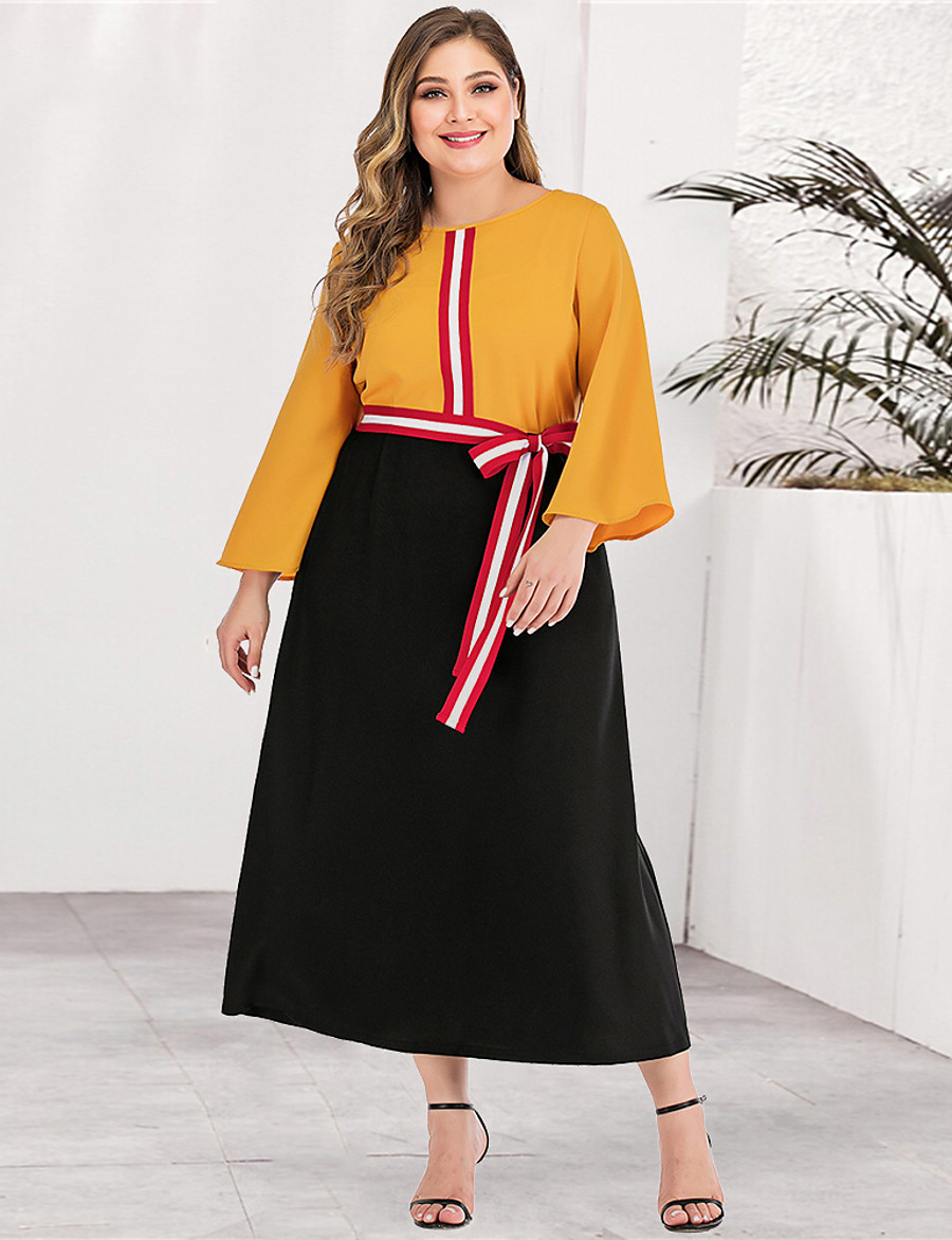 Women's A-Line Dress Maxi long Dress - Long Sleeve Color Block Solid Color Patchwork Plus Size Casual Streetwear Going out Yellow L XL XXL 3XL 4XL