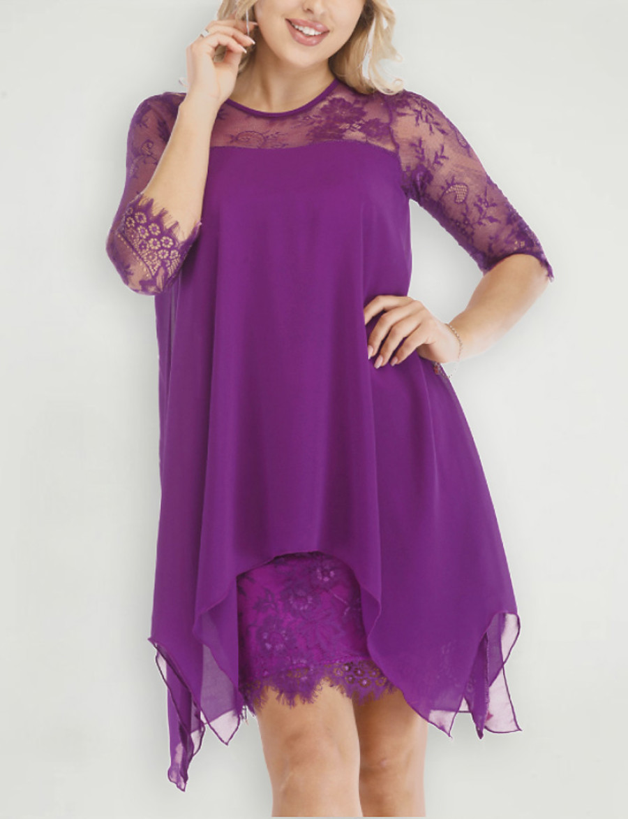 Women's Sheath Dress Short Mini Dress - 3/4 Length Sleeve Solid Colored Spring & Summer Plus Size Hot Chiffon Slim 2020 Black Purple Red Yellow Blushing Pink Wine Dusty Rose Khaki Royal Blue Brown S