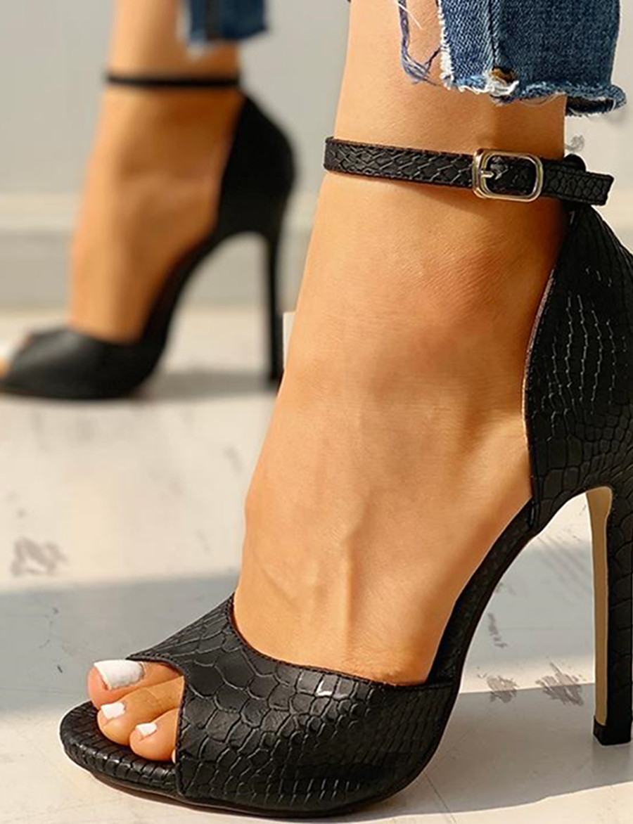 Women's Sandals Stiletto Heel Peep Toe Classic Daily Snake PU White / Black / Red