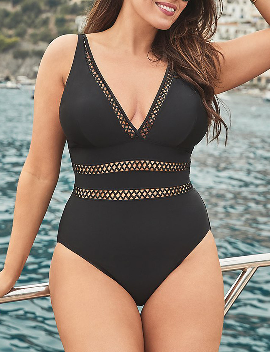 Women's Bandeau Basic Lace Tankini One-piece Swimsuit Lace up Slim Print Geometric Swimwear Bathing Suits Black / Padded Bras