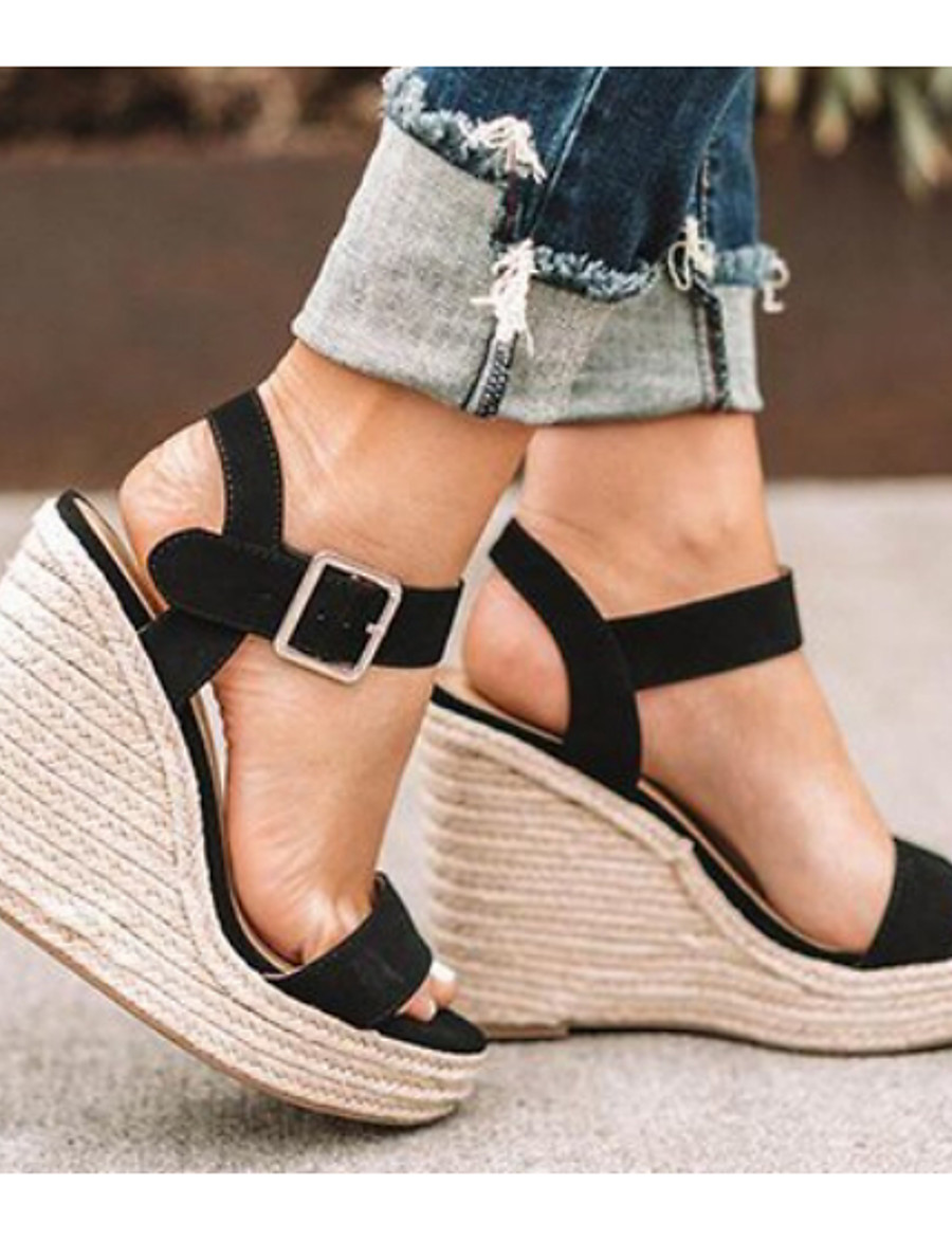 Women's Sandals Wedge Sandals Wedge Heel Open Toe Daily Microfiber PU Summer Camel / Black / Silver
