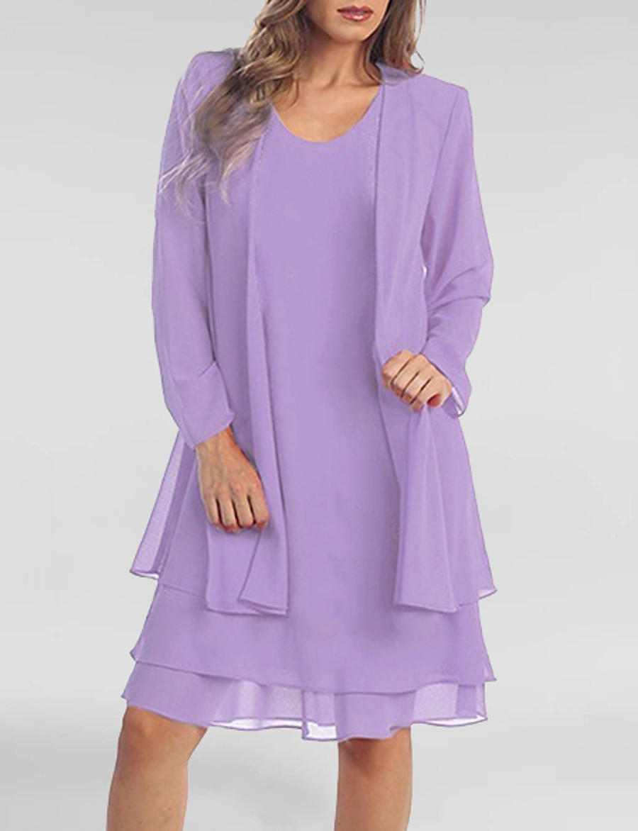 Women's Two Piece Dress Short Mini Dress - Long Sleeve Solid Colored Summer Spring & Summer Plus Size Chiffon Belt Not Included 2020 Purple XXL 3XL 4XL 5XL