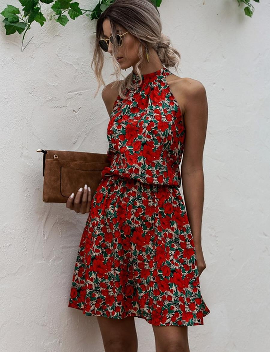 Women's A-Line Dress Short Mini Dress - Sleeveless Floral Summer Streetwear 2020 Red Yellow Navy Blue S M L XL