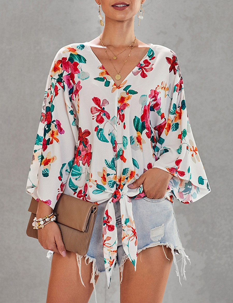 Women's Shirt Floral Print Knotted Tops V Neck White Blue