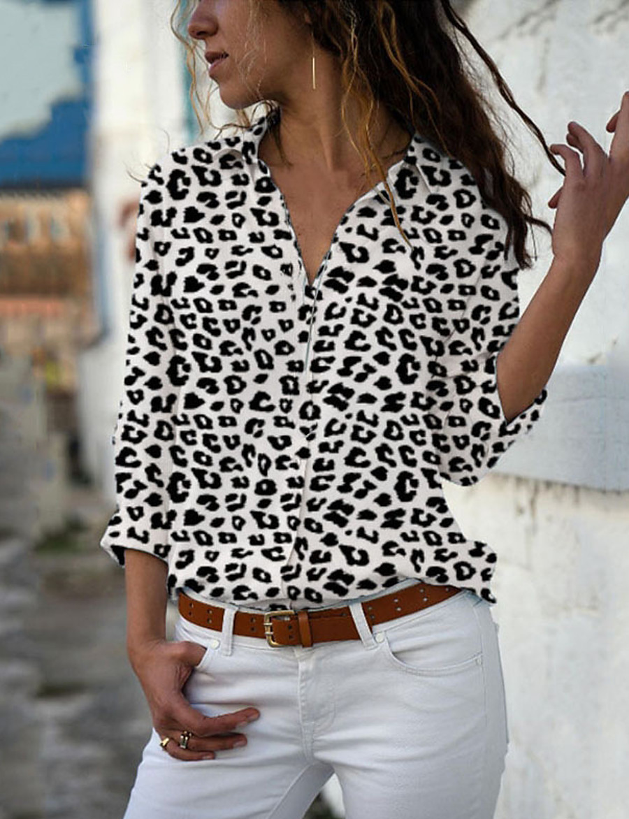 Women's Blouse Shirt Polka Dot Floral Cheetah Print Long Sleeve Print Shirt Collar Tops Casual Basic Basic Top Leopard White Yellow
