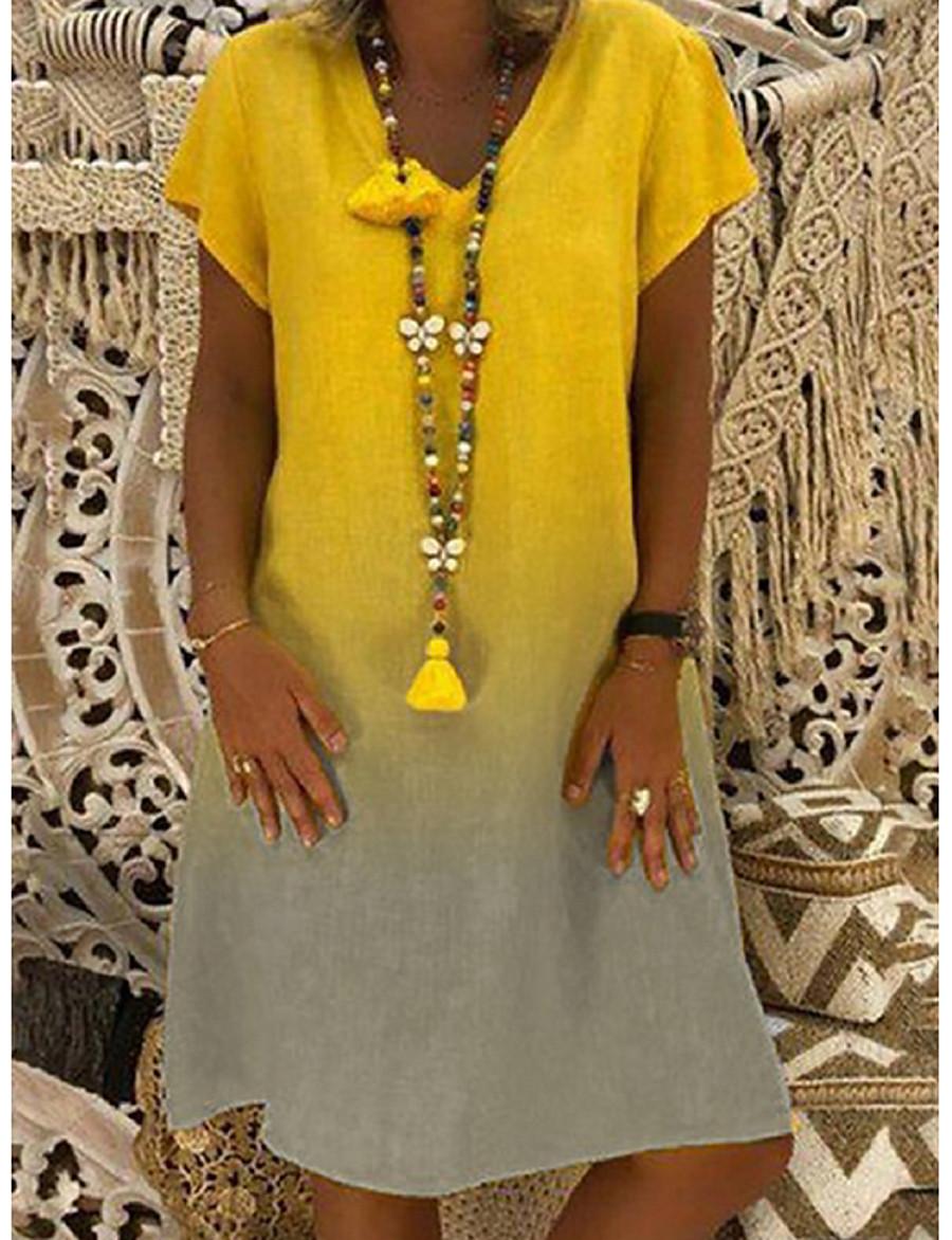 Women's Shift Dress Knee Length Dress Yellow Red Navy Blue Light Blue Short Sleeve Color Gradient Color Block Summer V Neck Hot Casual Loose 2021 S M L XL XXL 3XL