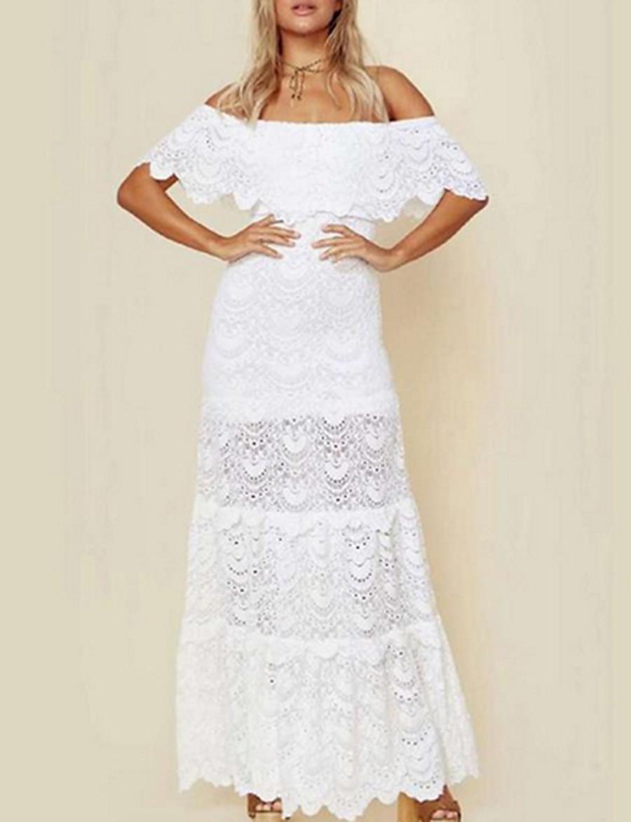 Women's Maxi White Dress A Line Solid Color Off Shoulder S M