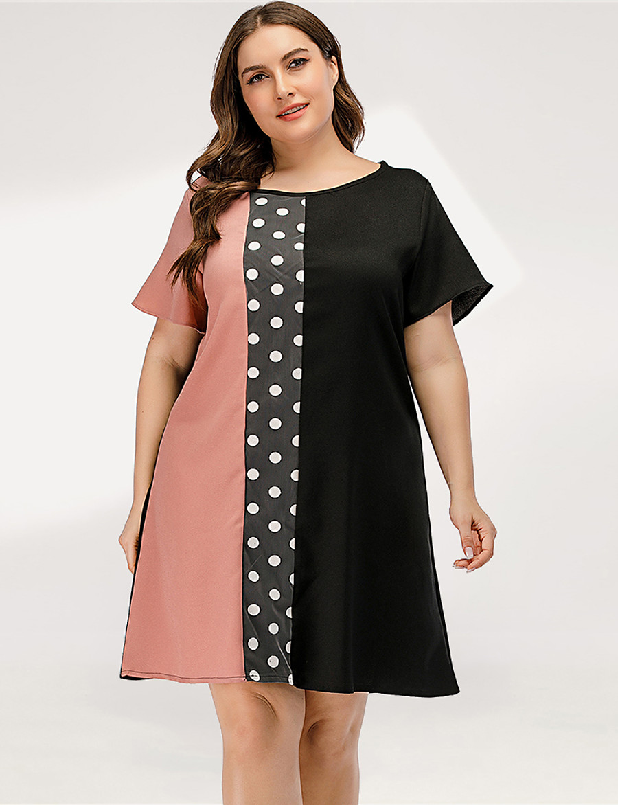 Damen A-Linie Kleid - Kurze Ärmel Punkt Einfarbig ...