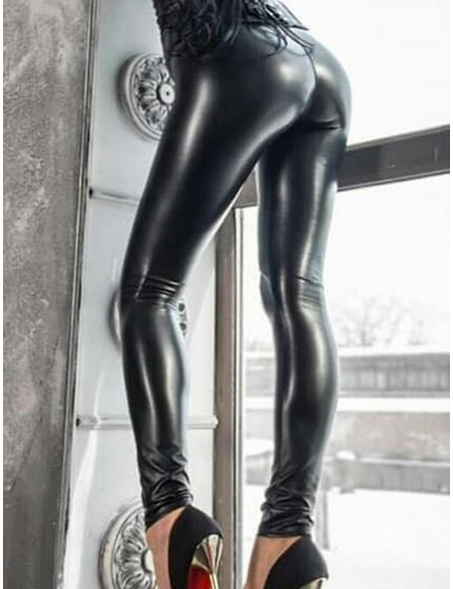 Femme Basique Legging Couleur Pleine Taille médiale Noir S M L