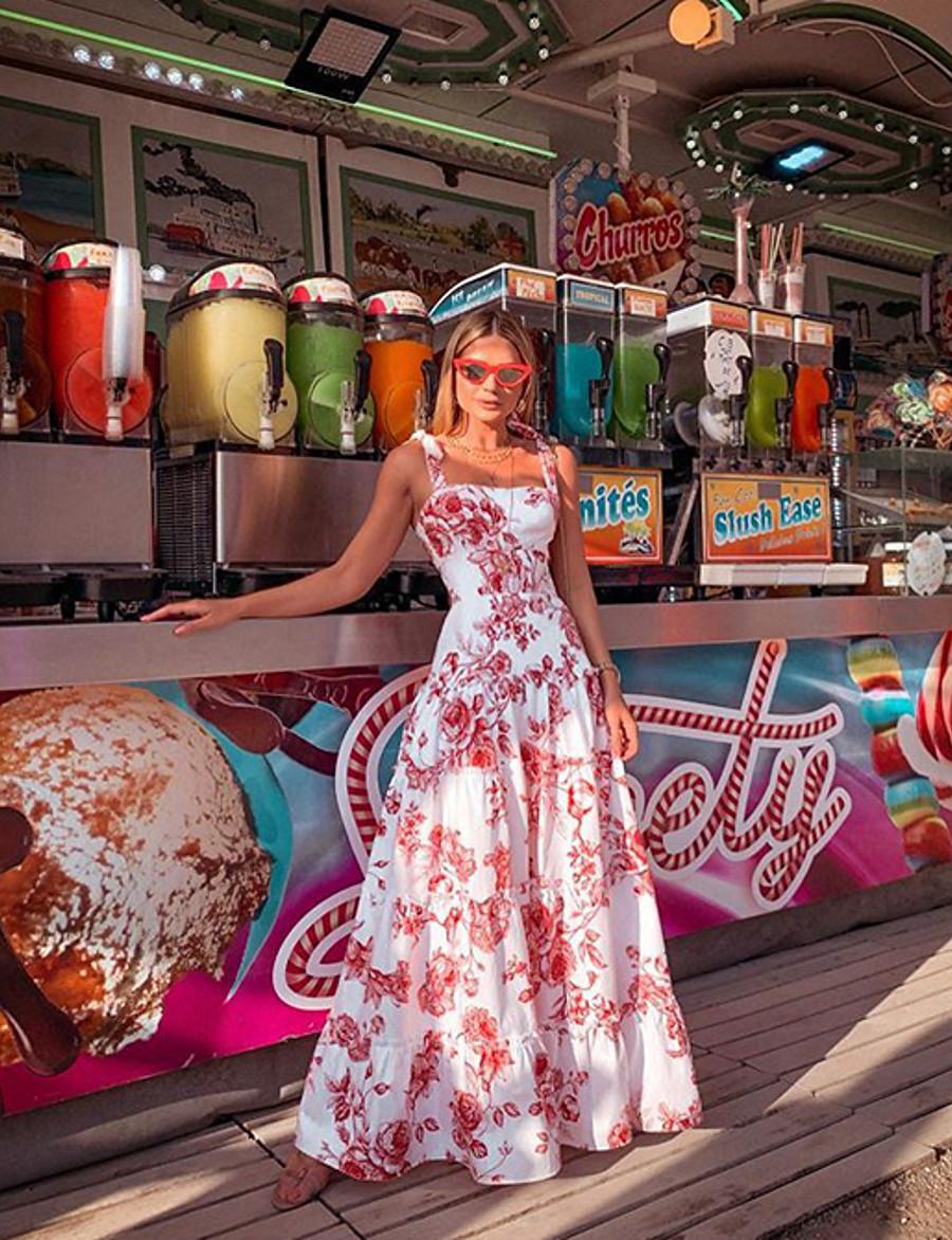 Women's Maxi Sheath Dress - Sleeveless Floral Strap Slim White S M L XL