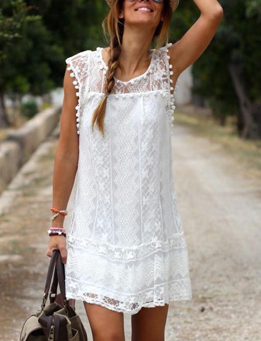 Women's Plus Size Mini Shift Dress - Sleeveless Solid Colored Lace Casual Holiday Vacation White Black Blue Red S M L XL XXL XXXL XXXXL XXXXXL
