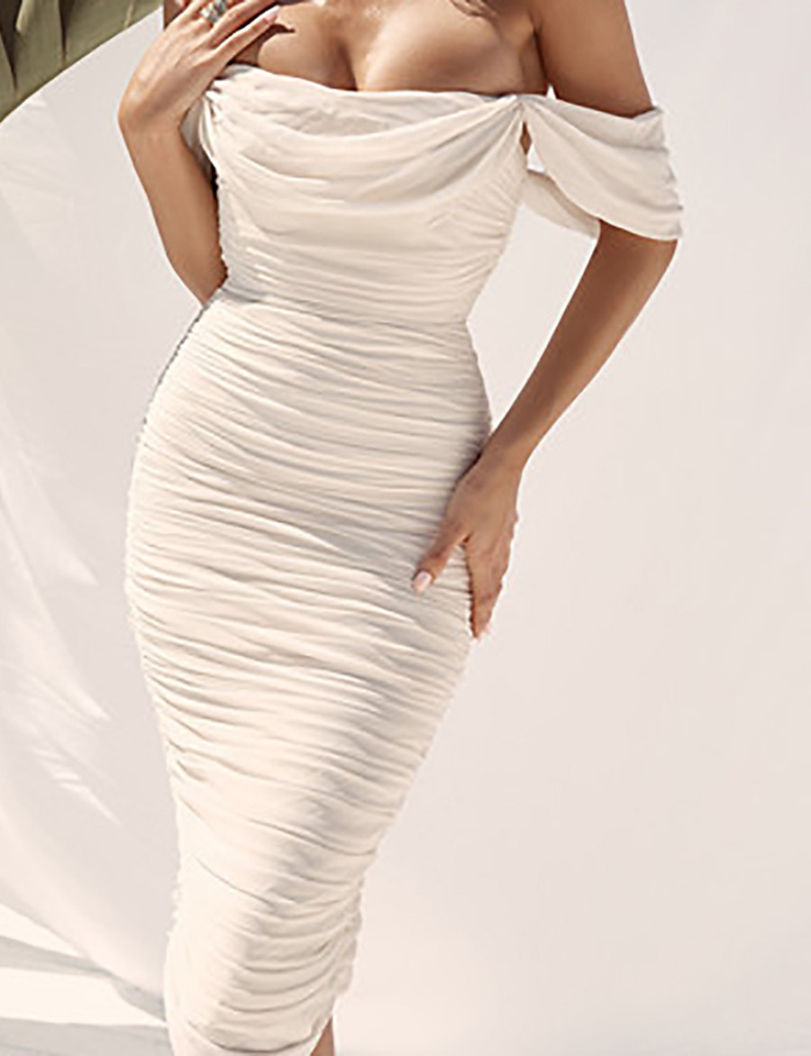 Women's Wrap Dress Midi Dress - Sleeveless Solid Color Backless Ruched Summer Off Shoulder Formal Elegant Party Going out Slim 2020 White S M L