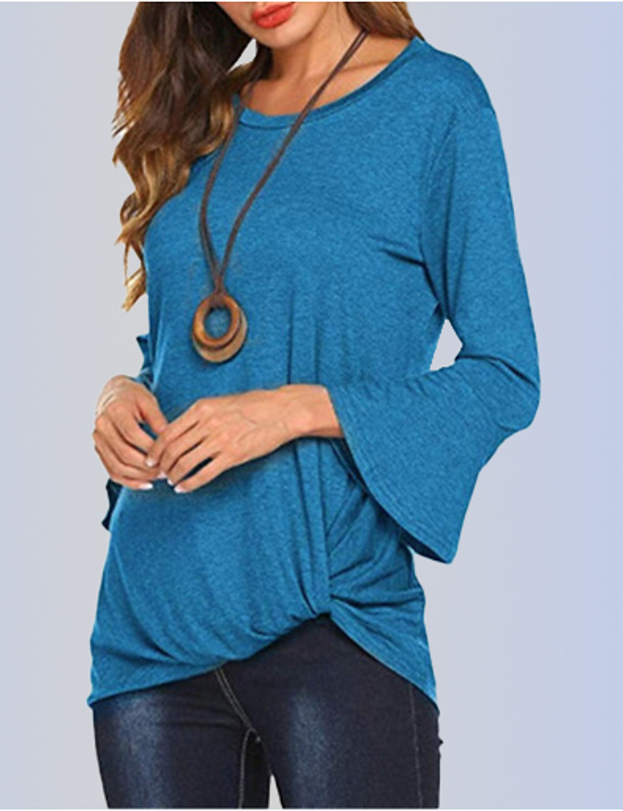 Women's Daily T-shirt - Solid Colored Wine