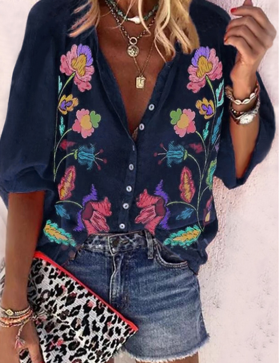 Women's Floral Vintage Style Shirt Boho Vintage Daily Shirt Collar Blue