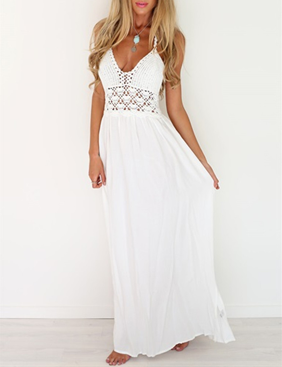 Women's Lace Maxi long Dress - Sleeveless Solid Color Backless Mesh Spring V Neck Casual Streetwear Holiday Beach 2020 White S M L XL