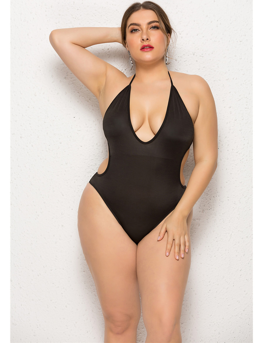 Women's Basic Lace Tankini One-piece Swimsuit Backless Lace up Solid Colored Tied Neck Swimwear Bathing Suits Black