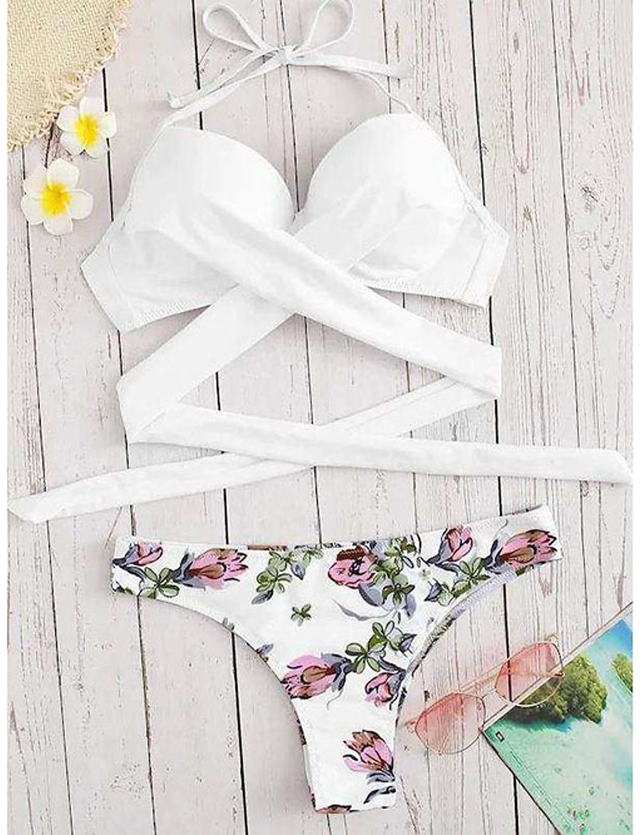 Women's Basic Strap Triangle Cheeky High Waist Bikini Swimwear Swimsuit - Floral Solid Colored Print S M L Wine White Black Blushing Pink Green
