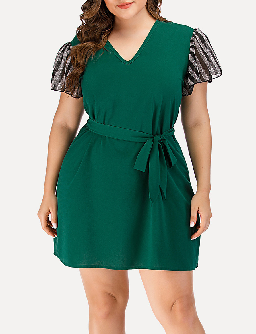 Women's A-Line Dress Short Mini Dress - Short Sleeve Striped Solid Color Mesh Patchwork Summer V Neck Plus Size Casual Streetwear Going out Flare Cuff Sleeve 2020 Green L XL XXL 3XL 4XL