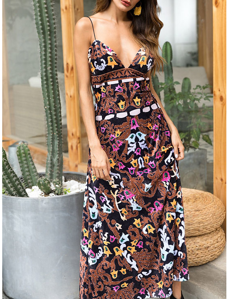 Women's Strap Dress Maxi long Dress - Sleeveless Floral Summer Elegant 2020 Brown M L XL XXL