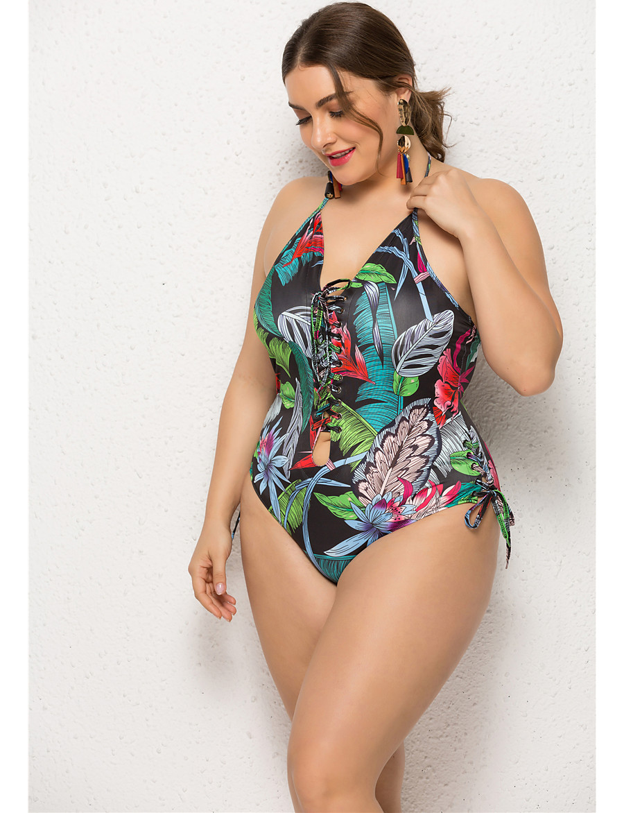 Women's Basic One-piece Swimsuit Backless Print Tropical Tied Neck Swimwear Bathing Suits Green