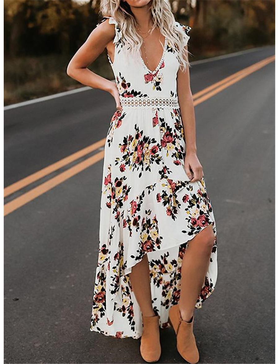 Women's Asymmetrical A Line Dress - Sleeveless Floral Summer V Neck Casual Elegant Party 2020 White Black S M L XL