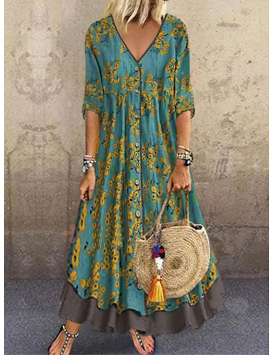 Women's A-Line Dress Maxi long Dress - Half Sleeve Floral Layered Button Print Spring & Summer Deep V Casual Hot Holiday vacation dresses Loose 2020 Red Green Gray M L XL XXL 3XL