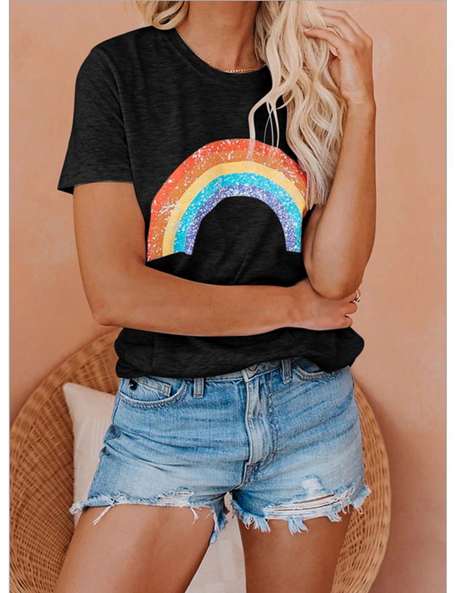 Women's T-shirt Geometric Round Neck Tops Basic Top White Black Gray