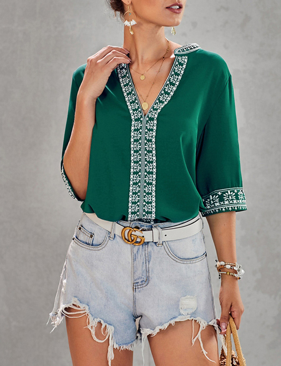 Women's Blouse Shirt Geometric Lace Trims Half Sleeve Tops V Neck Black Blue Red