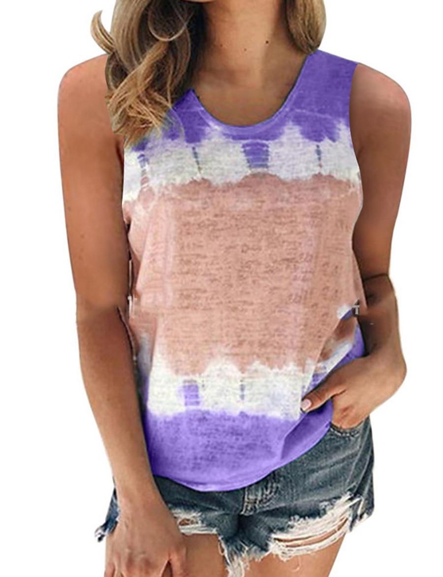 Women's Tank Top Color Block Tie Dye Round Neck Tops Basic Top Black Blue Purple