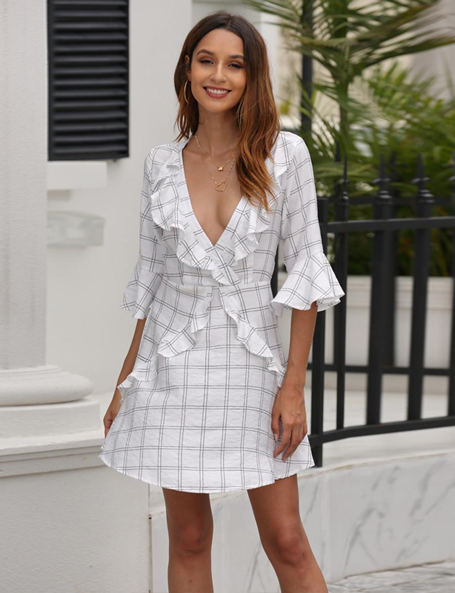 Women's Sundress Short Mini Dress - Half Sleeve Geometric Ruffle Summer V Neck Work Elegant Holiday Going out Flare Cuff Sleeve 2020 White XS S M L